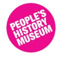 pink and white peoples history museum logo